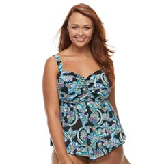 Plus Size A Shore Fit Tummy Slimmer D-Cup Bandeaukini Top