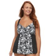 Plus Size A Shore Fit Colorblock D-E Cup Tankini Top