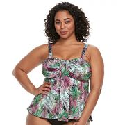 Plus Size A Shore Fit Tummy Slimmer Bandeaukini Top