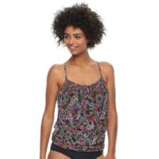 Women's A Shore Fit Tummy Slimmer Mesh Blouson Tankini Top
