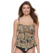 Women's A Shore Fit Tummy Slimmer D-E Cup Bandeaukini Top