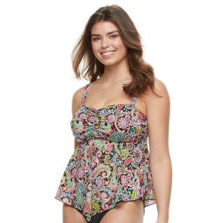 Women's A Shore Fit Tummy Slimmer D-E Cup Bandeaukini Top