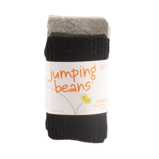 Baby Girl Jumping Beans® 2-pk. Ribbed & Diamond Knit Heavyweight Tights