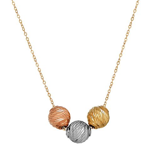 Everlasting Gold Tri-Tone 10k Gold 3-Bead Necklace