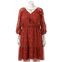 Plus Size LC Lauren Conrad Ruffle Cold-Shoulder Shift Dress