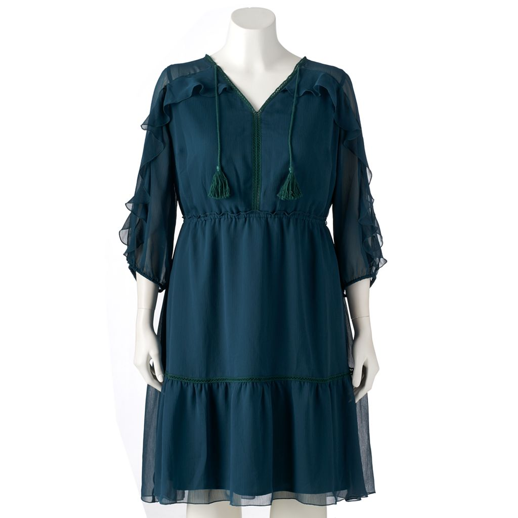 Plus Size LC Lauren Conrad Ruffle Cold-Shoulder Shift Dress