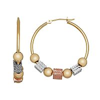 Everlasting Gold Tri Tone 14k Gold Beaded Hoop Earrings