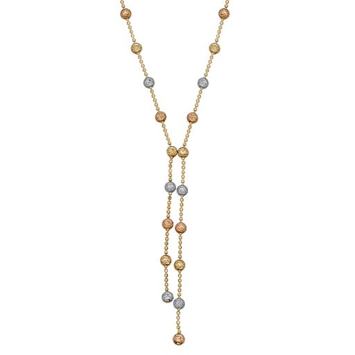 Everlasting Gold Tri-Tone 10k Gold Beaded Necklace