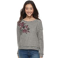 Juniors' Rewind Floral Embroidered Striped Sweatshirt