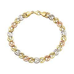 Everlasting Gold Tri Tone 10k Gold Interlock Link Bracelet