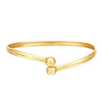 Everlasting Gold 10k Gold Ball Bypass Bracelet