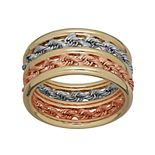 Everlasting Gold Tri-Tone 10k Gold Rope Ring