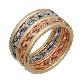 Everlasting Gold Tri-Tone 10k Gold Rope Ring
