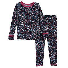 Toddler Girl Cuddl Duds 2 pc Printed Base Layer Top & Pants Set