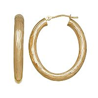 Everlasting Gold 14k Gold Textured Oval Hoop Earrings