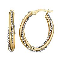 Everlasting Gold Two Tone 14k Gold Beaded Oval Hoop Earrings