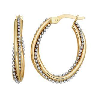 Everlasting Gold Two Tone 14k Gold Beaded Oval Hoop Earrings