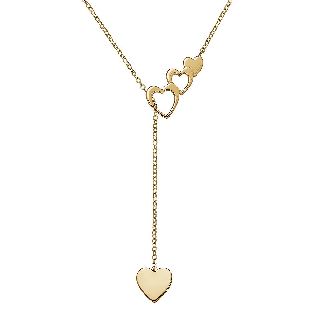 Everlasting Gold 10k Gold Heart Lariat Necklace