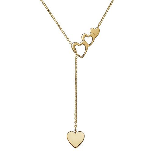 Everlasting Gold 10k Gold Heart Lariat Necklace
