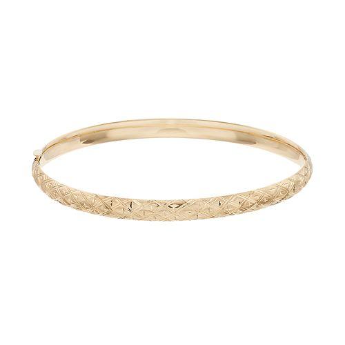 Everlasting Gold 10k Gold Textured Hinged Bangle Bracelet