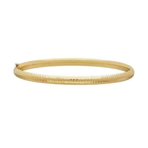 Everlasting Gold 10k Gold Hammered Bangle Bracelet