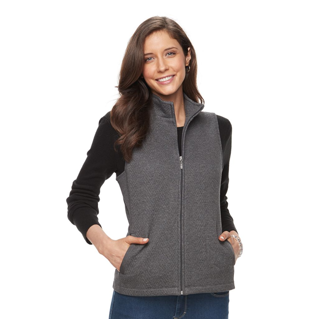 Women's Croft & Barrow® Ribbed Side Quilted Vest