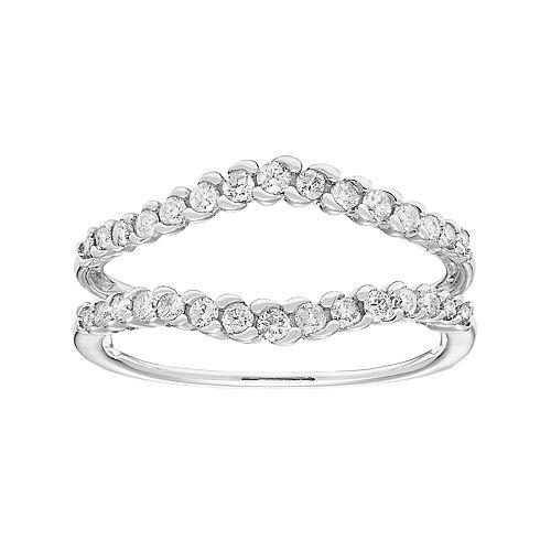 14k White Gold 3 8 Carat T W Diamond Enhancer Wedding Ring
