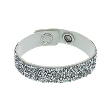 Simply Vera Vera Wang Gray Faux Leather Wrap Bracelet with Swarovski Crystals