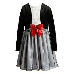 Girls 7-16 Emily West Glitter Dress & Velvet Shrug Set