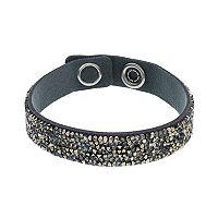 Simply Vera Vera Wang Dark Gray Faux Leather Wrap Bracelet with Swarovski Crystals