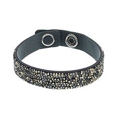 Simply Vera Vera Wang Dark Gray Faux Leather Wrap Bracelet with Swarovski Crystals