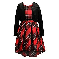 Girls 7-16 Emily West Plaid Dress & Velvet Cardigan Set