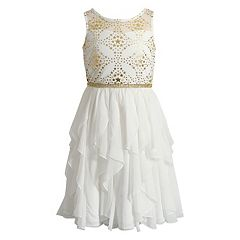 Girls 7-16 Emily West Foil Star Print Corkscrew Dress