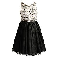 Girls 7-16 Emily West Geometric Print Glitter Dress