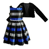 Girls 7-16 & Plus Size Striped Dress & Velvet Cardigan Set
