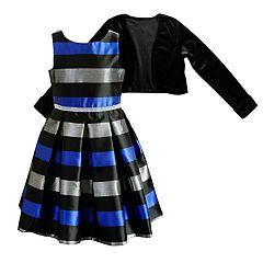 Girls 7-16 & Plus Size Striped Dress & Velvet Cardigan Set