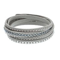Simply Vera Vera Wang Gray Faux Leather Multi Row Wrap Bracelet with Swarovski Crystals