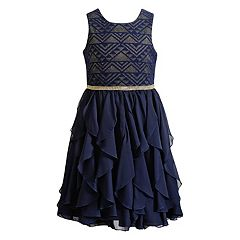 Girls 7-16 Emily West Triangle Chevron Corkscrew Dress