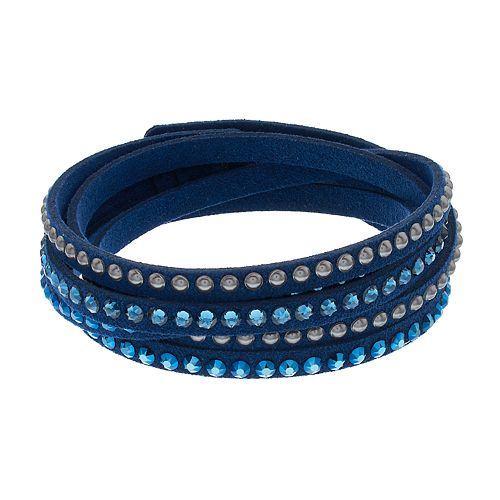 Simply Vera Vera Wang Blue Faux Leather Multi Row Wrap Bracelet with Swarovski Crystals