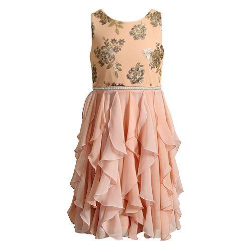 Girls 7-16 Emily West Sequin Floral Corkscrew Dress
