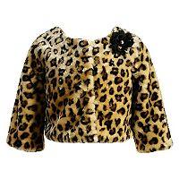 Girls 7-16 Emily West Faux Fur Leopard Shrug
