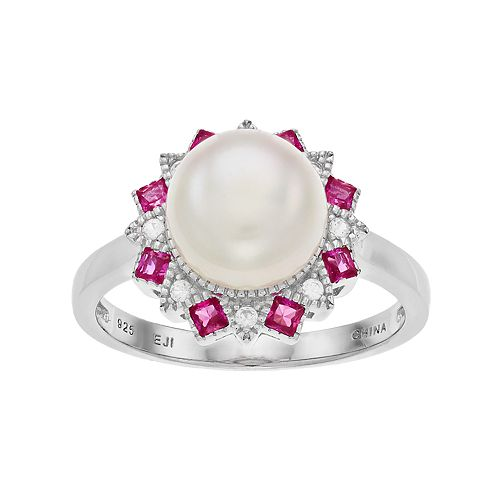Sterling Silver Freshwater Cultured Pearl & Lab-Created Ruby Ring