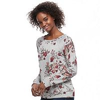 Juniors' Rewind Floral Lace-Up Sweatshirt