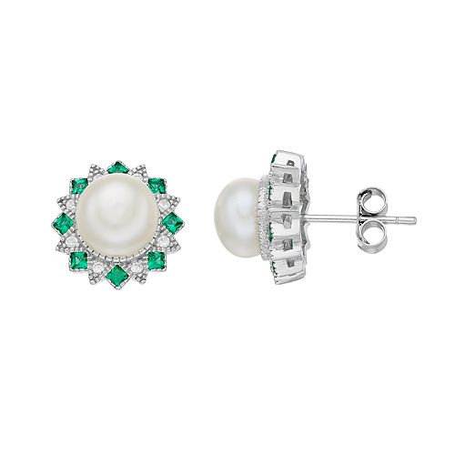 Sterling Silver Freshwater Cultured Pearl, Lab-Created Green Spinel & White Sapphire Stud Earrings