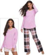 Juniors' SO® Pajamas: Flannel Pants, Shorts & Top 3-Piece PJ Set