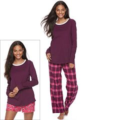 Juniors' SO® Pajamas: Flannel Pants, Shorts & Top 3 pc PJ Set