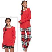 Juniors' SO® Pajamas: Flannel Pants, Shorts & Top 3 pc PJ Set