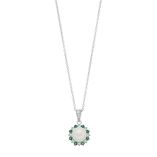 Sterling silver Freshwater Cultured Pearl & Lab-Created Green Spinel Pendant