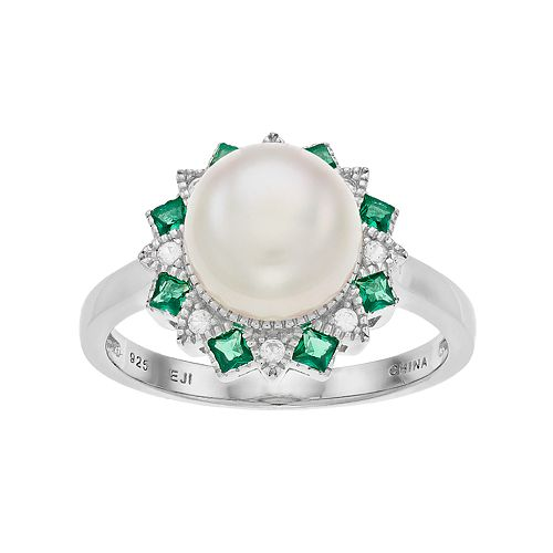 Sterling Silver Freshwater Cultured Pearl & Lab-Created Green Spinel Ring