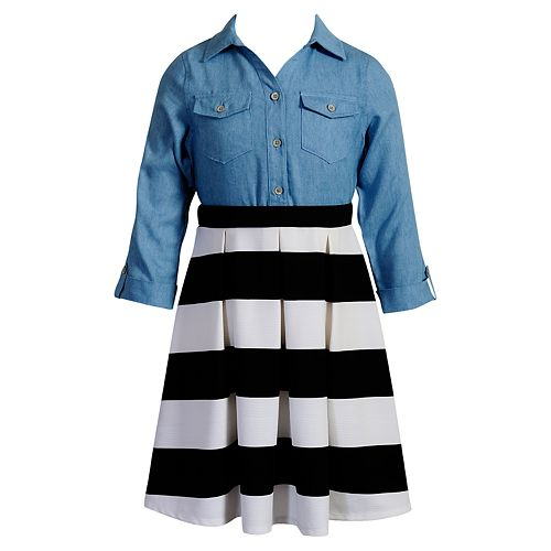 Girls 7-16 Emily West Knit Chambray & Striped Skirt Dress